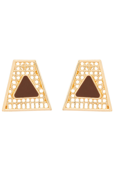Filigree Trapezoid Stud Earrings-1