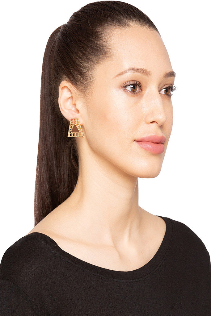 Filigree Trapezoid Stud Earrings-3