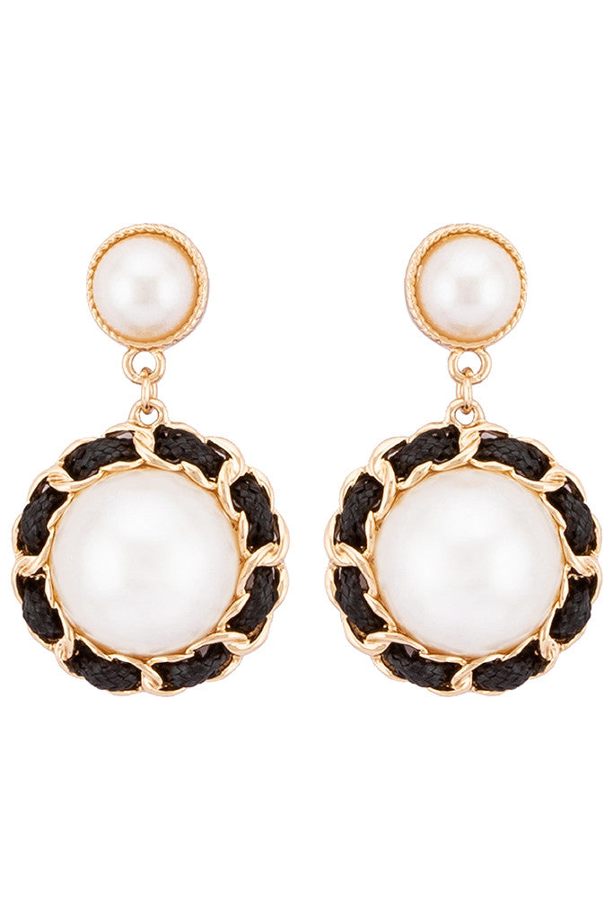 Pearl Stud Dangling Earrings-1