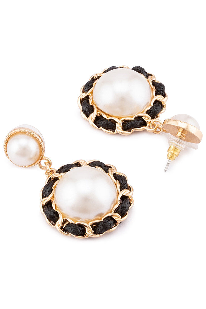 Pearl Stud Dangling Earrings-2