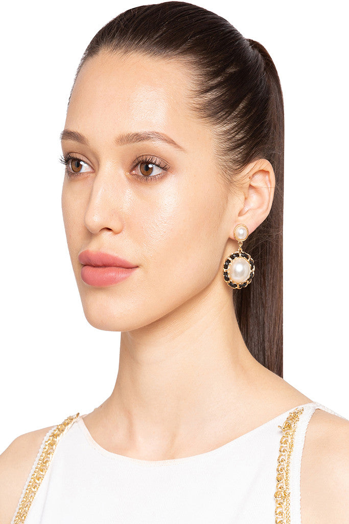 Pearl Stud Dangling Earrings-3