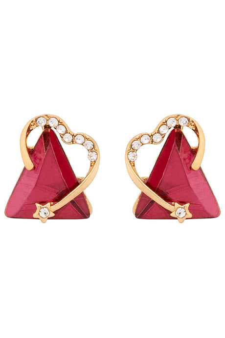 Triangle Shaped Stone Stud Earrings-1