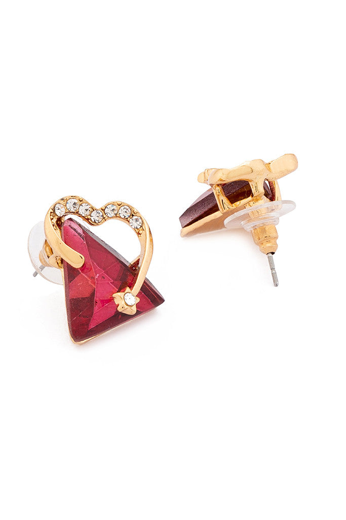 Triangle Shaped Stone Stud Earrings-2