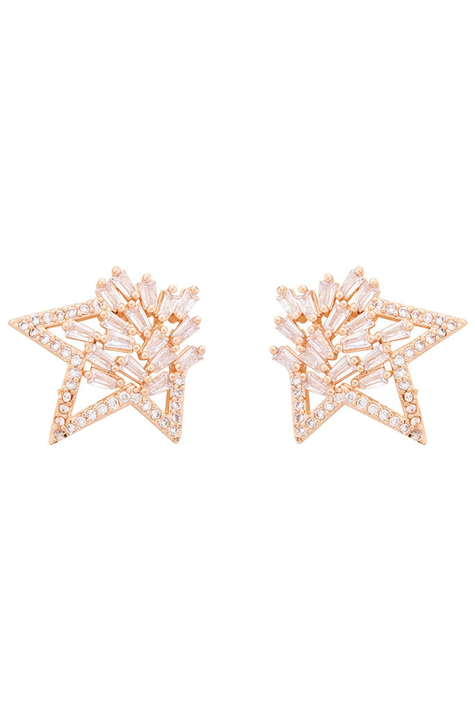 Stone Rose Gold Studs-1