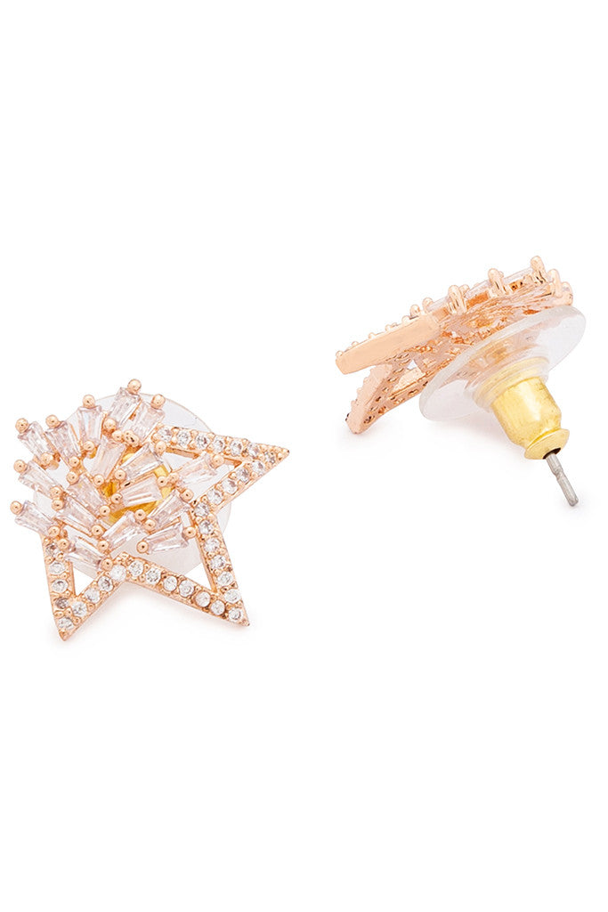 Stone Rose Gold Studs-2