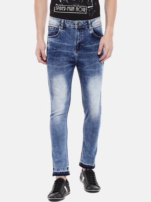 Blue Skinny Fit Mid-Rise Mildly Distressed Jeans-1