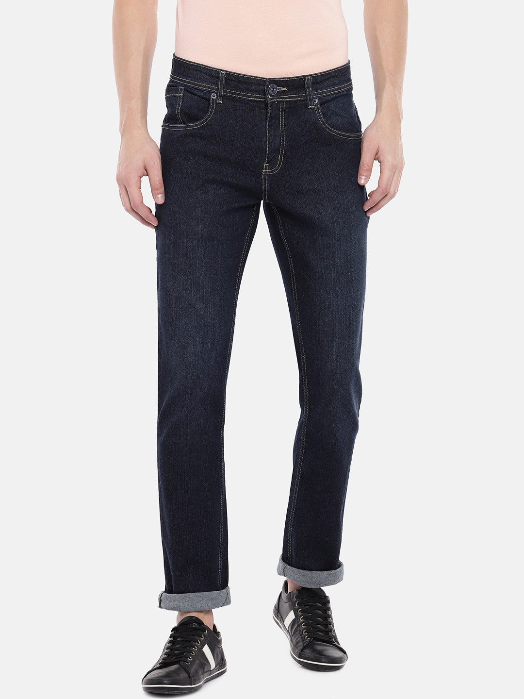 Navy Blue Slim Fit Mid-Rise Clean Look Jeans-1