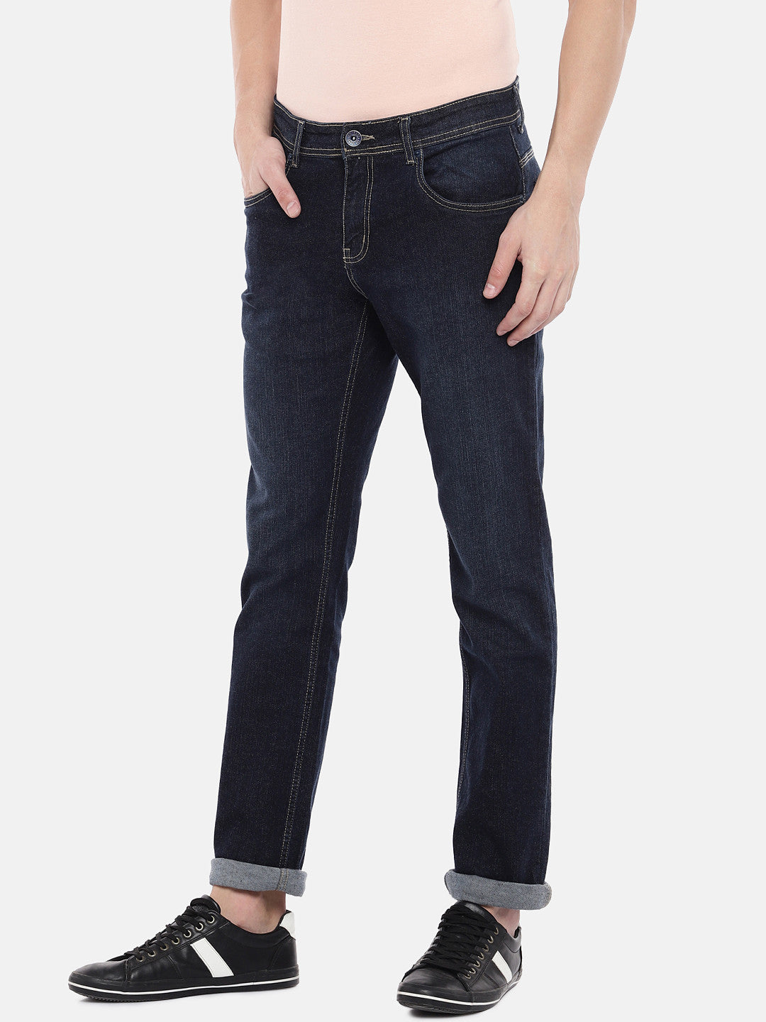 Navy Blue Slim Fit Mid-Rise Clean Look Jeans-2