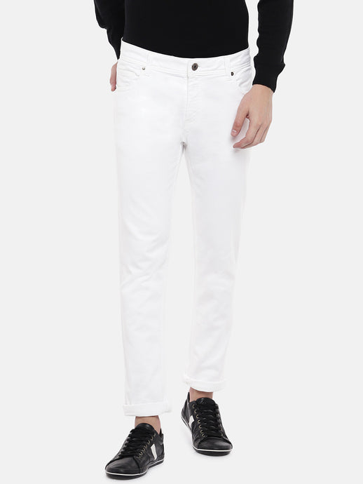 White Skinny Fit Mid-Rise Clean Look Jeans-1
