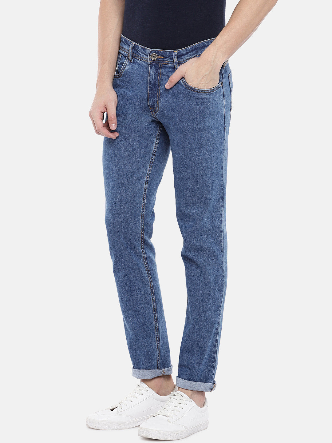 Blue Slim Fit Mid-Rise Clean Look Jeans-2