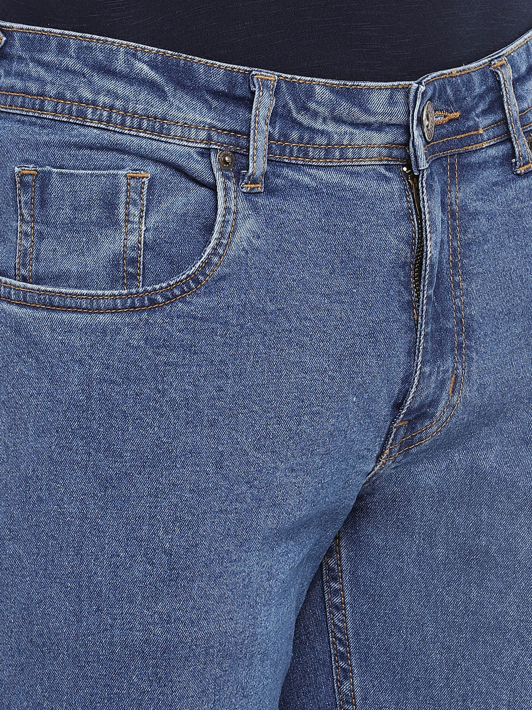 Blue Slim Fit Mid-Rise Clean Look Jeans-5