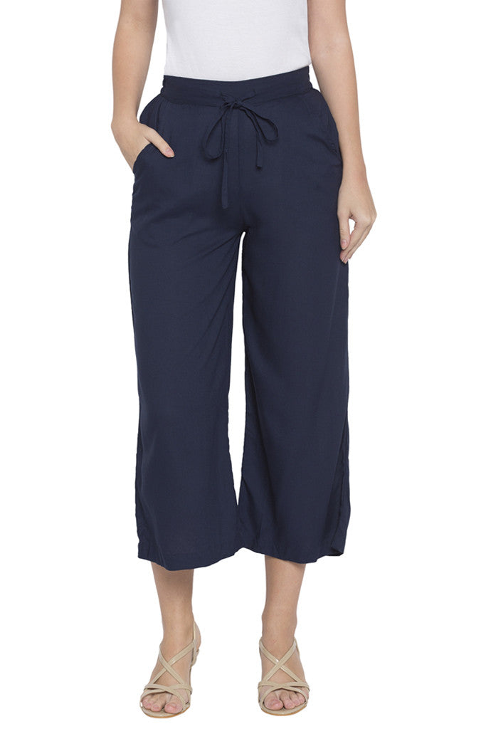 Navy Cropped Trouser-1