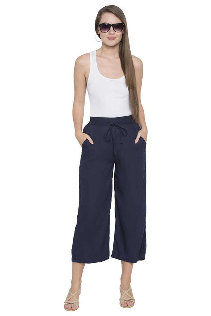 Navy Cropped Trouser-2