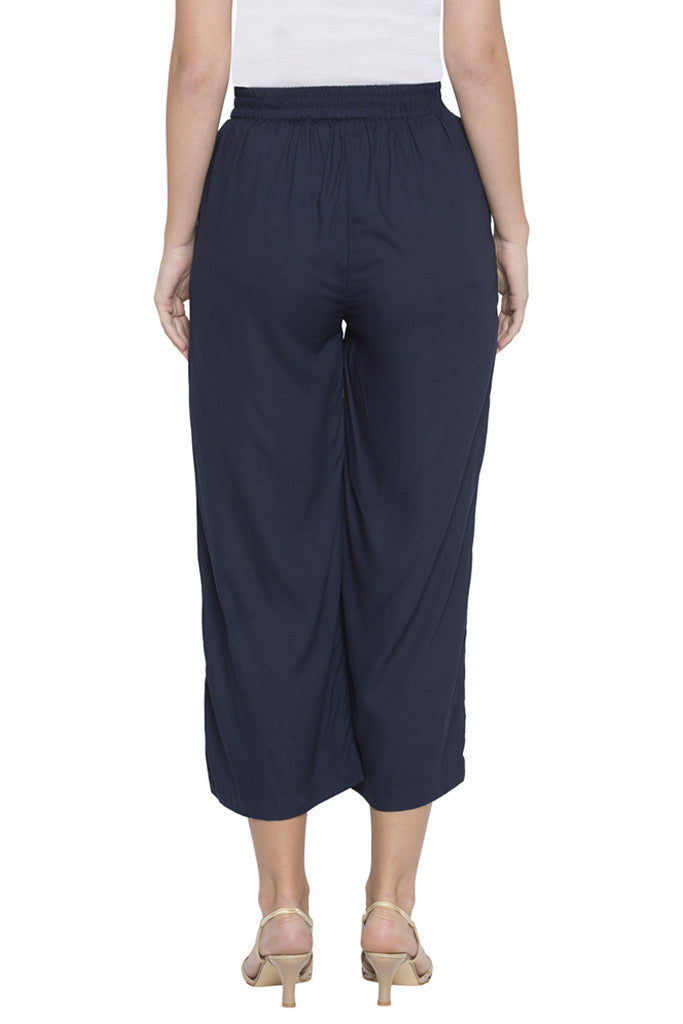Navy Cropped Trouser-3