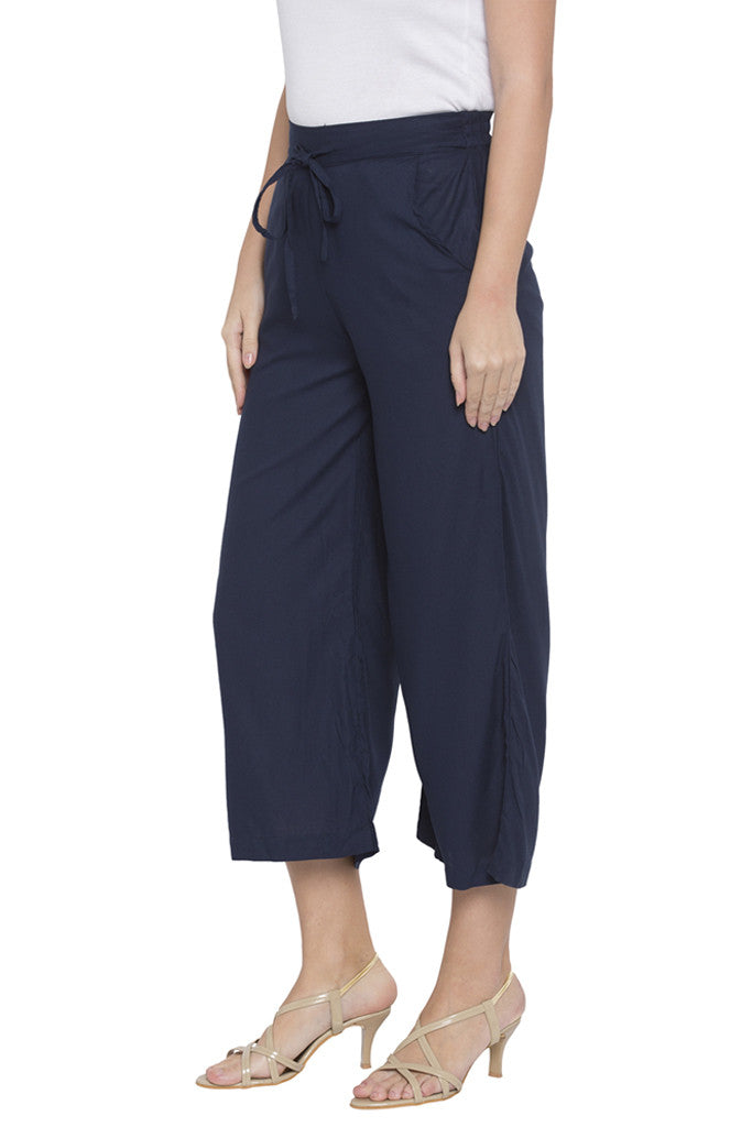 Navy Cropped Trouser-4