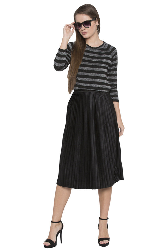 Solid Pleated Skirt-1