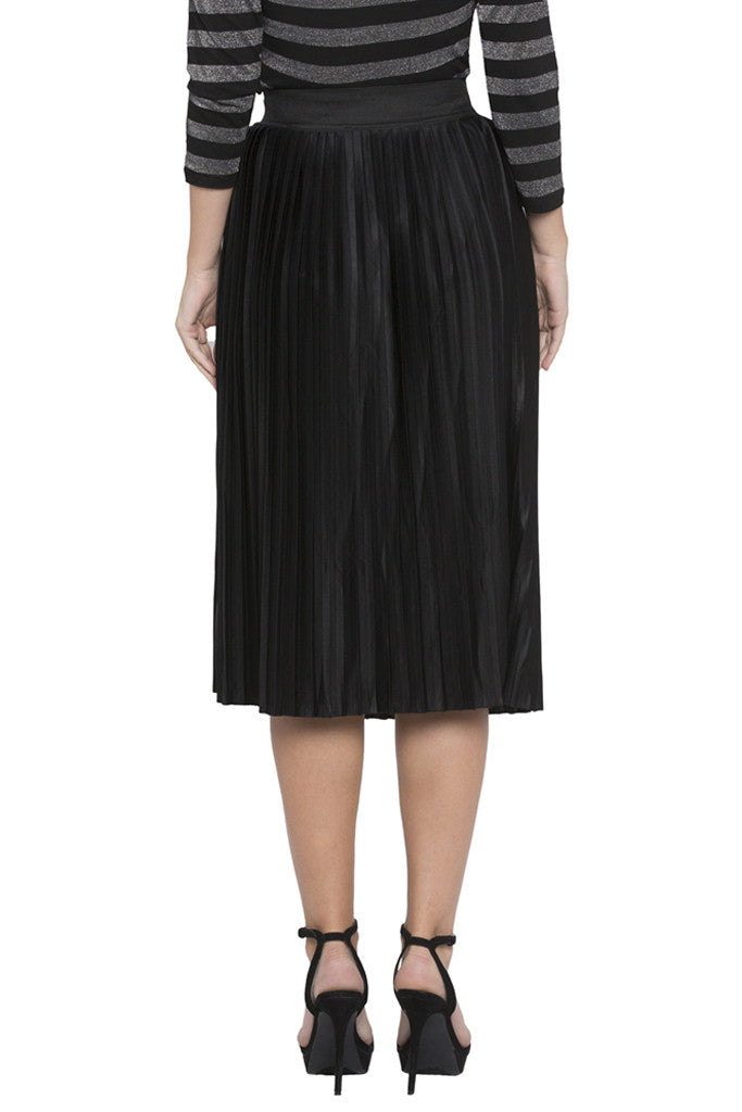 Solid Pleated Skirt-2