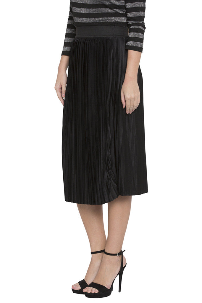 Solid Pleated Skirt-3