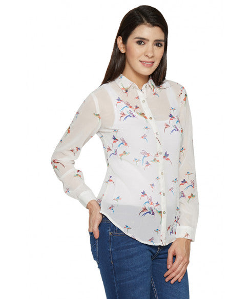 Printed White Shirt-4