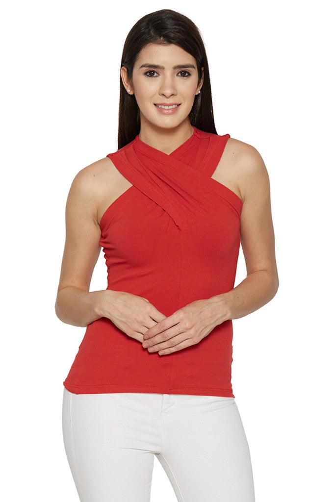 Draped Neck Red Top-1