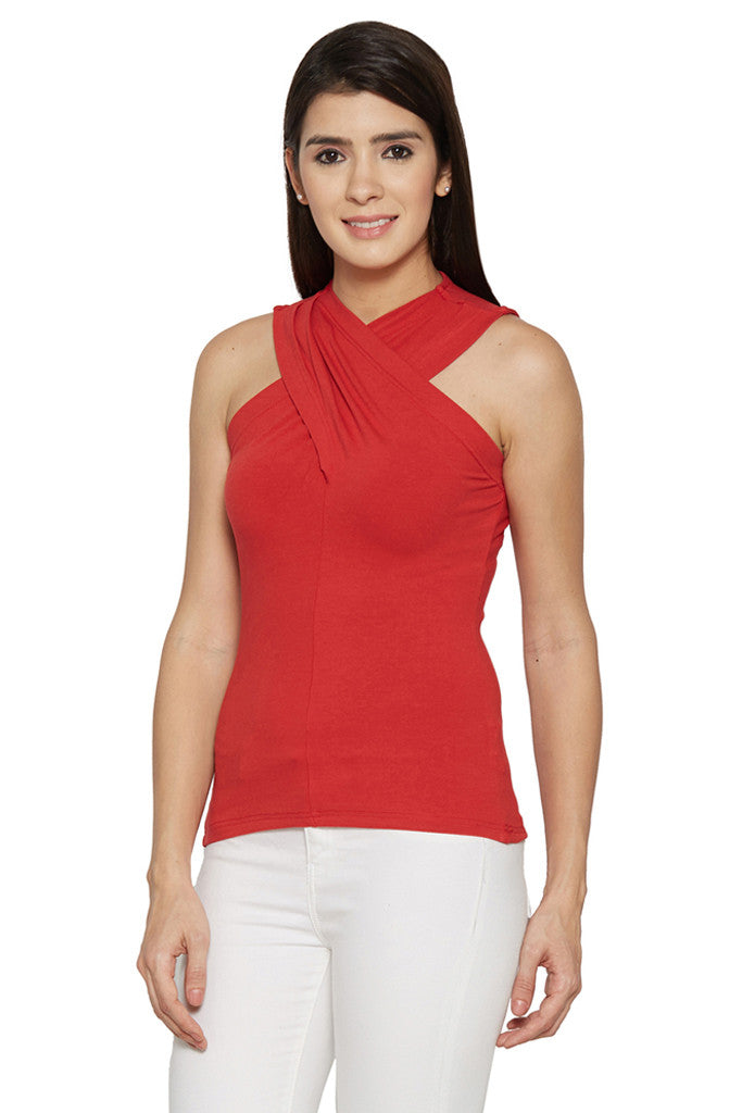 Draped Neck Red Top-2
