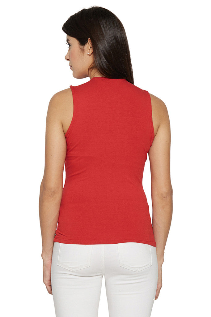 Draped Neck Red Top-3