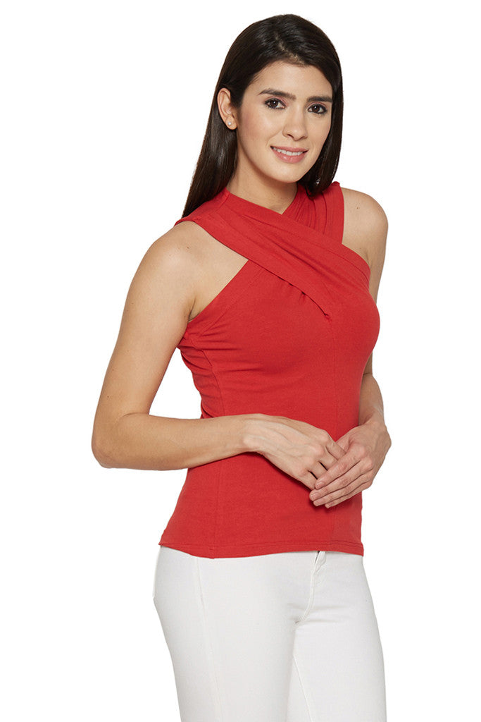 Draped Neck Red Top-4