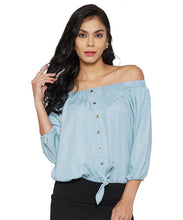 Load image into Gallery viewer, Ice Blue Off-Shoulder Top-1