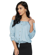 Load image into Gallery viewer, Ice Blue Off-Shoulder Top-2