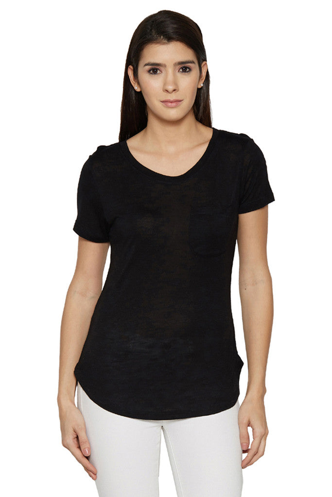 Solid Casual Black Tee-1