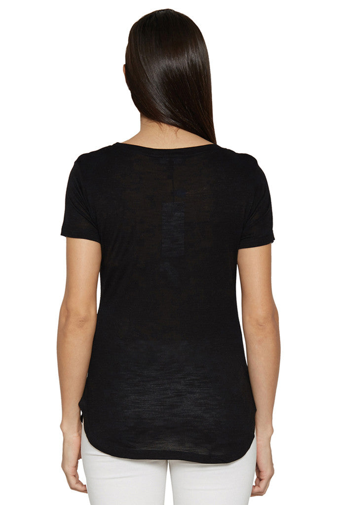 Solid Casual Black Tee-3