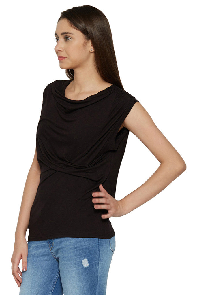 Draped Cowl Neck Top-2