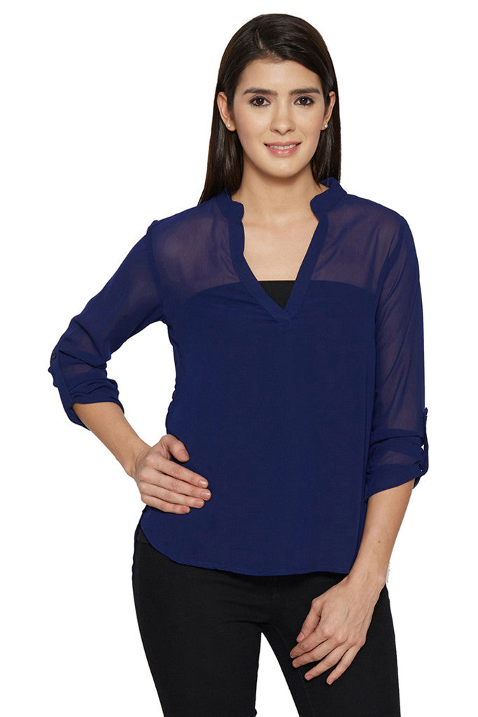 Navy Blue Sheer Top-1