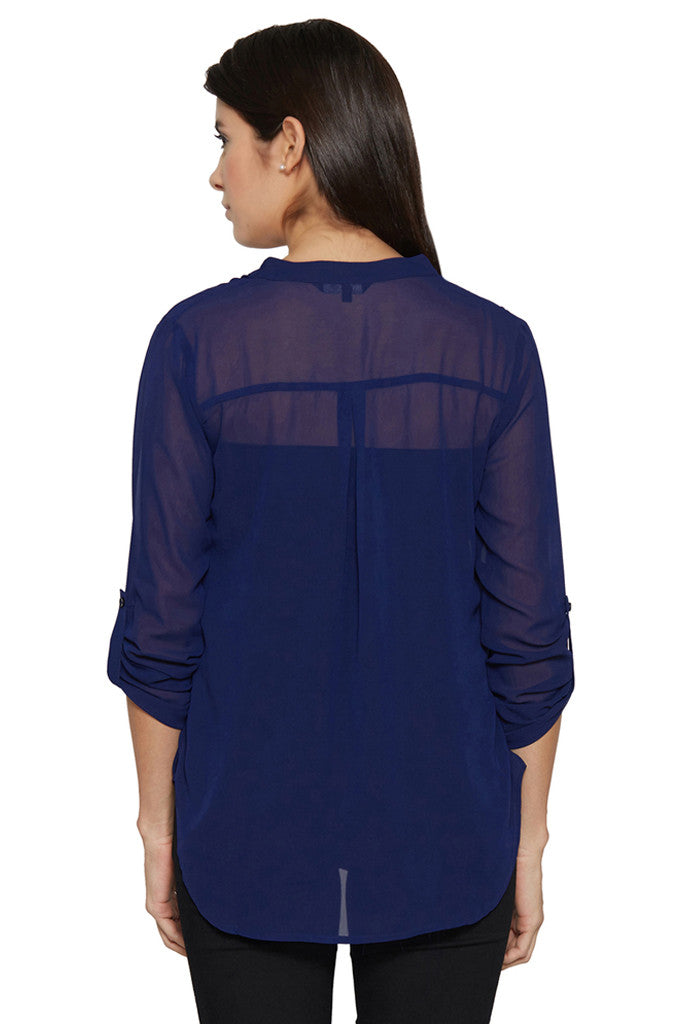 Navy Blue Sheer Top-3