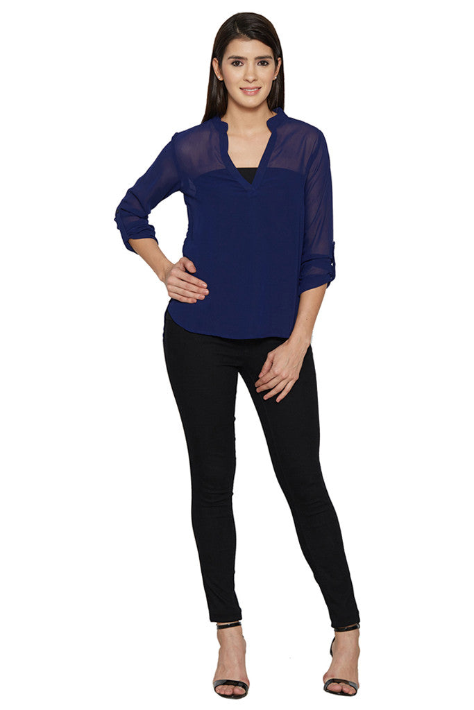 Navy Blue Sheer Top-5