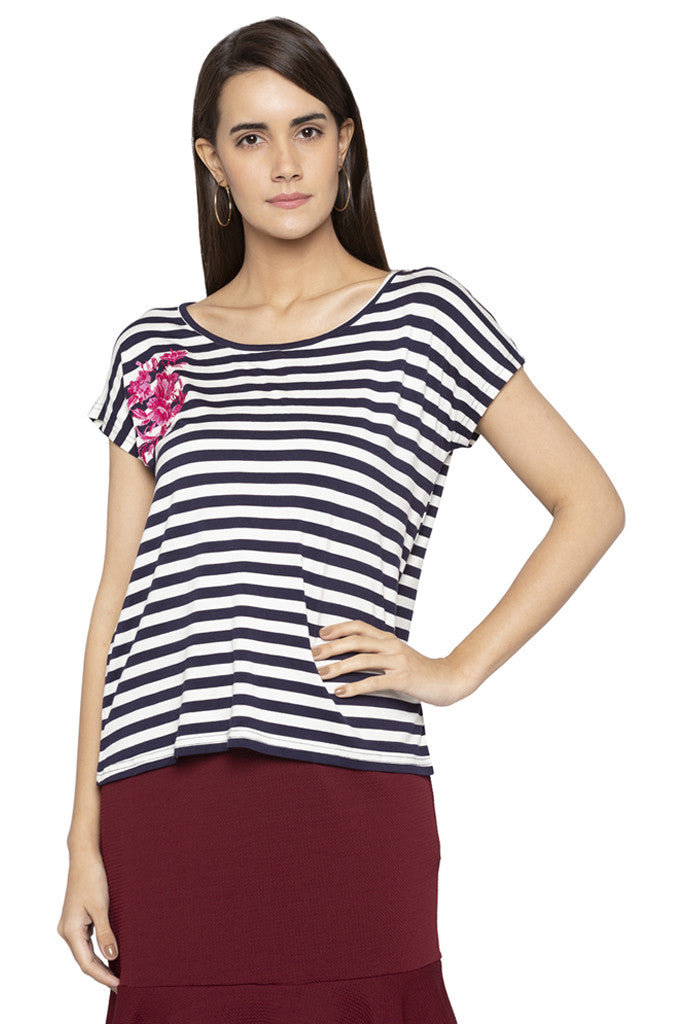 Embroidered Striped Top-1