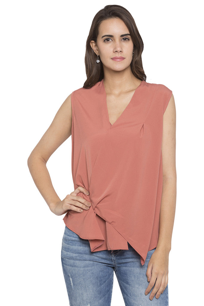 Draped Asymmetrical Hem Top-1