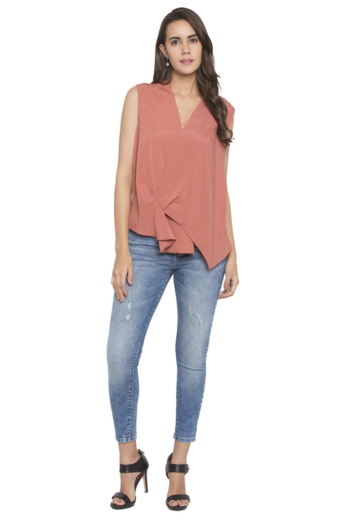 Draped Asymmetrical Hem Top-2