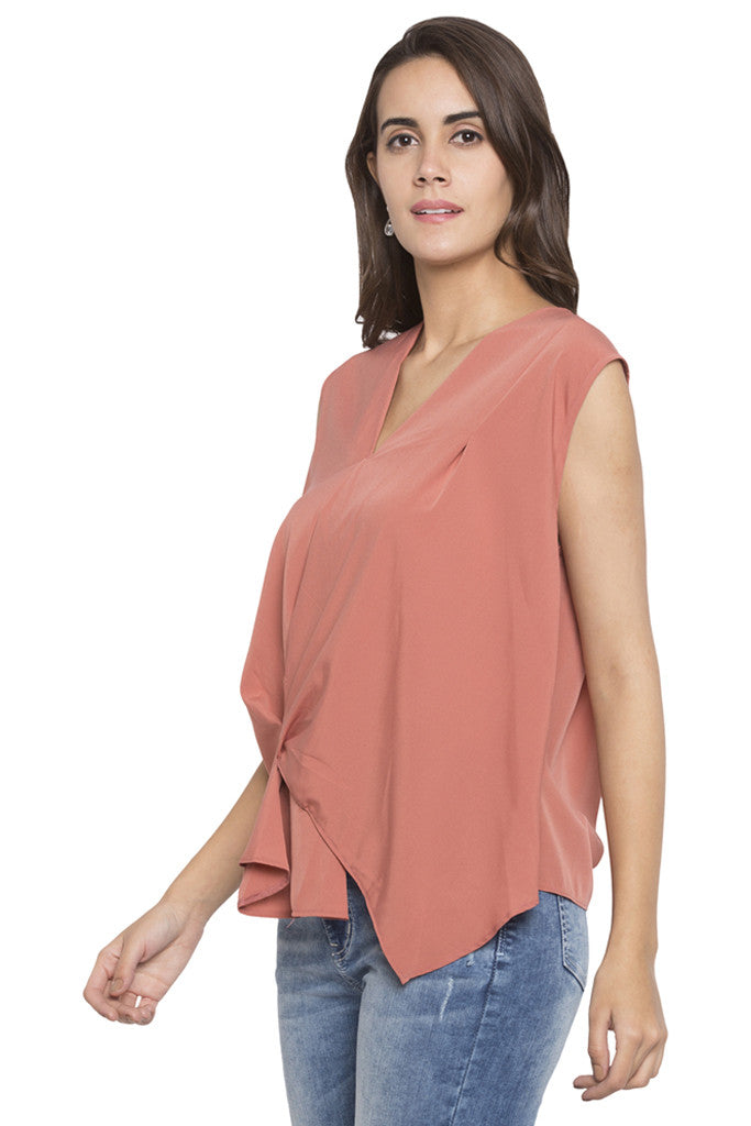 Draped Asymmetrical Hem Top-4