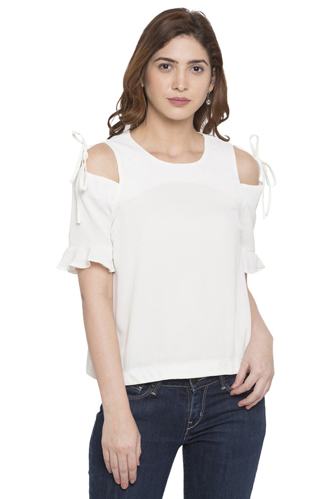Cold Shoulder Tie Up Top-1