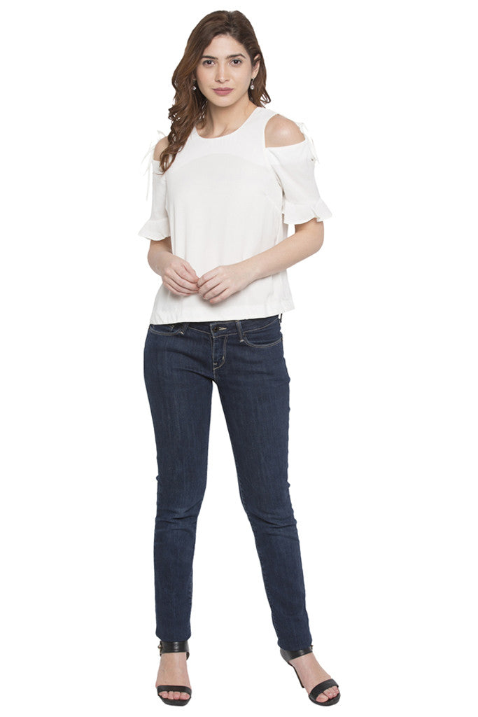Cold Shoulder Tie Up Top-2