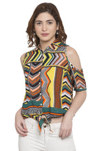 Load image into Gallery viewer, Cold Shoulder Tie Up Printed Top-1