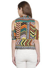 Load image into Gallery viewer, Cold Shoulder Tie Up Printed Top-3