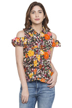 Load image into Gallery viewer, Floral Print Cold Shoulder Shirt Top-1