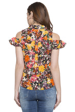 Load image into Gallery viewer, Floral Print Cold Shoulder Shirt Top-3