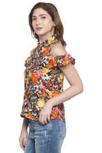 Load image into Gallery viewer, Floral Print Cold Shoulder Shirt Top-4