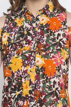 Load image into Gallery viewer, Floral Print Cold Shoulder Shirt Top-5