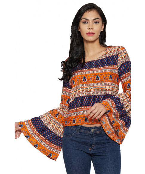 Multicolour Flared Sleeve Top-1