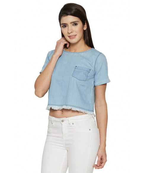 Denim Boxy Short Top-2
