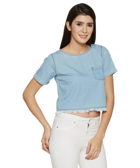 Denim Boxy Short Top-4